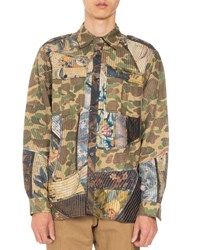 Dries Van Noten Cane Camo Patchwork Shirt Khaki