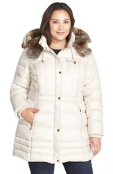 Plus Size Women's Laundry By Design Faux Fur Trim Hooded Quilted Coat Bone