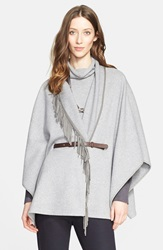 Fabiana Filippi Belted Cape With Suede Fringe Grey