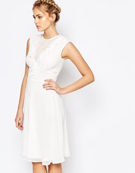 Elise Ryan Plunge Front Midi Skater Dress With Frill White