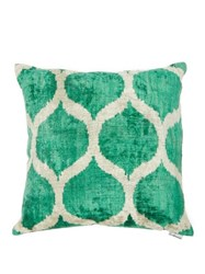 Les Ottomans Ottoman Silk Velvet Cushion Green Multi