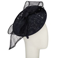 John Lewis Hope Lace Disc Bow Occasion Hat Navy