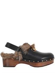 Gucci Horse Bit Leather And Fur Clogs
