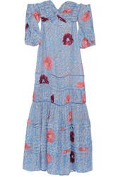 Johanna Ortiz Dama De Las Camelias Floral Print Silk Georgette Maxi Dress Light Blue