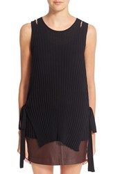 Helmut Lang Women's Side Tie Knit Wool Tank Black