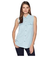 Dylan By True Grit Luxe Laundered Tencel Sleeveless Two Pocket Shirt Faded Denim Blue