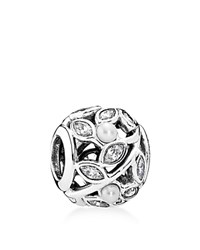 Pandora Design Pandora Charm Sterling Silver Cubic Zirconia And Cultured Freshwater Pearl Luminous Leaves Moments Collection