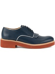 Dsquared2 Contrast Fringed Derby Shoes Calf Leather Leather Blue
