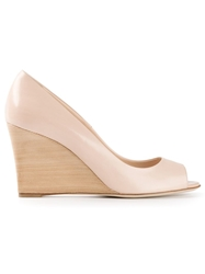 Tod's Open Toe Wedge Pump Nude And Neutrals
