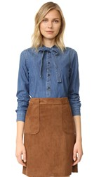 Madewell Denim Tie Neck Shirt