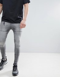 Religion Super Tapered Fit Jeans With Panels Washed Black Grey