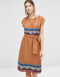 Trollied Dolly Elastic Fantastic Ditsy Print Dress Orange