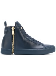 Diesel Snentish Hi Tops Calf Leather Leather Rubber Blue