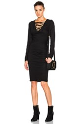 Pam And Gela Lace Up Ruched Dress In Black