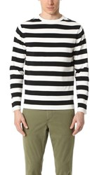 Tomorrowland Striped Crew Neck Sweater White Black