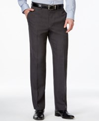 Haggar Classic Fit Eclo Windowpane Straight Fit Dress Pants Charcoal