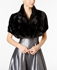 Tahari By Arthur S. Levine Asl Faux Fur Stand Collar Shrug Black