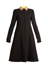 Valentino Embellished Collar Four Pocket Crepe Dress Black