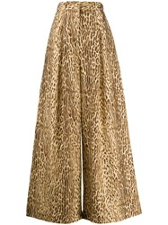 Zimmermann Animal Print Palazzo Trousers Neutrals