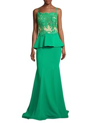 Nicole Bakti Embroidered Peplum Gown Emerald