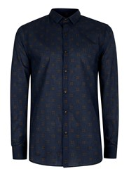 Topman Blue Navy Geometric Print Shirt