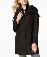 Laundry By Shelli Segal Pillow Collar Ruched Waist Raincoat Black