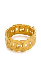Wgaca Vintage Chanel Dot Border Interlock Cuff Bracelet