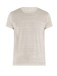 120 Lino Crew Neck Linen T Shirt Light Grey