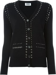 Sonia By Sonia Rykiel Studded Knit Cardigan Black