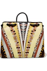 Emilio Pucci Leather Trimmed Printed Canvas Tote Yellow