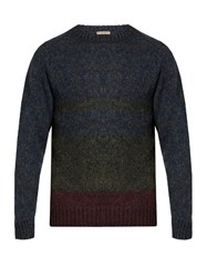 Bottega Veneta Crew Neck Wool Knit Sweater Blue Multi