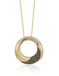 Le Vian Chocolatier Chocolate Diamond Vanilla Diamond And 14K Honey Gold Circle Pendant Necklace