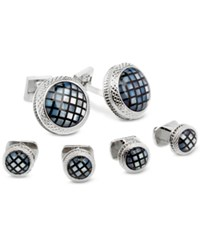Ike Behar Men's Mosaic Mother Of Pearl Cuff Links And Studs Set Black