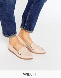 Asos Marika Wide Fit Flat Shoes Nude Beige