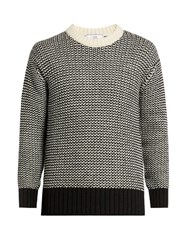 Ami Alexandre Mattiussi Contrast Knit Wool Blend Sweater Black White