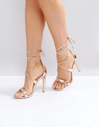 a9cc9677218 True Decadence Tie Up Heeled Sandals Rose Gold