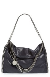 Stella Mccartney 'Falabella Shaggy Deer' Faux Leather Foldover Tote Blue Navy