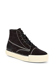 Alexander Wang Lace Up Leather High Top Sneakers Black