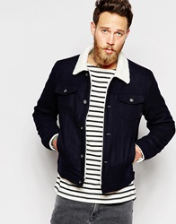 Asos Wool Bomber Jacket With Faux Shearling Collar Navy