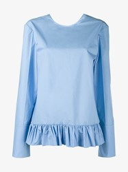 Marni Long Sleeve Ruffle Shirt Blue Navy