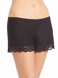 Commando Lace Hem Butter Shorts Petal White Black