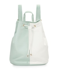 Neiman Marcus Faux Leather Colorblock Drawstring Backpack Mint White
