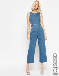 Asos Tall Denim Wide Leg Cut Out Jumpsuit In Pretty Vintage Wash Blue
