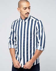 Asos Long Sleeve Breton Stripe Shirt In Regular Fit Navy