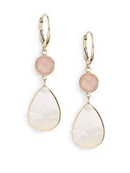 Saks Fifth Avenue Pink Chalcedony Mother Of Pearl And 14K Yellow Gold Drop Earrings