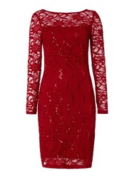 Js Collections Long Sleeve Dress With Sequin Lace Red