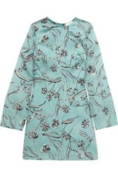 3.1 Phillip Lim Floral Print Silk Organza Mini Dress Turquoise