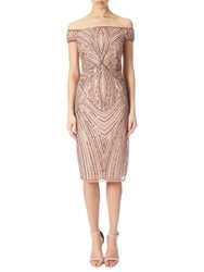 Adrianna Papell Off Shoulder Beaded Cocktail Dress Rose Gold