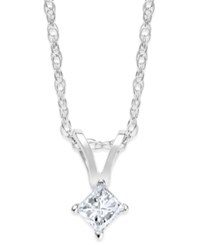 Macy's Princess Cut Diamond Pendant Necklace In 10K Yellow Or White Gold 1 10 Ct. T.W.