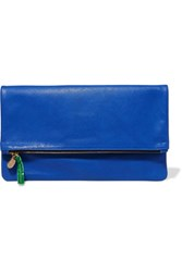 Clare V. V Maison Fold Over Textured Leather Clutch Cobalt Blue
